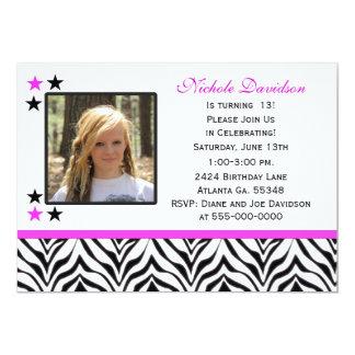 zebra print 13th birthday party invitations - 13th Birthday Party Invitations