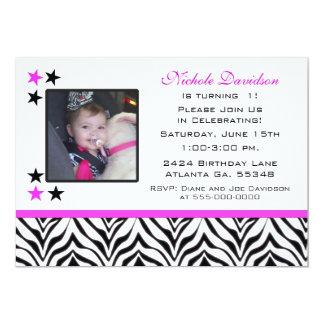Zebra Print: 1st Birthday Party Invitations