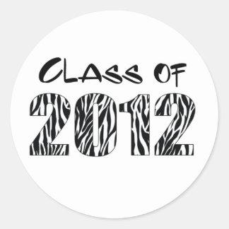 ZEBRA PRINT 2012 CLASSIC ROUND STICKER