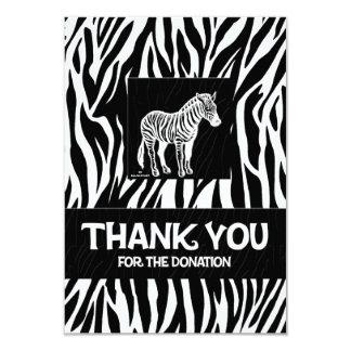 "Zebra Print 3.5"" x 5"" Donation Thank You 3.5x5 Paper Invitation Card"
