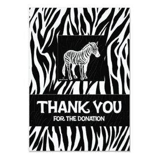 "Zebra Print 3.5"" x 5"" Donation Thank You Card"