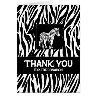 "Zebra Print 4""x5.6"" Donation Thank You Notecard Stationery Note Card"