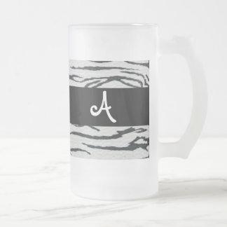 Zebra print Add your own Monogram Frosted mug