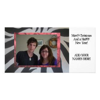 "Zebra print ""Add your photo"" Christmas cards! Customized Photo Card"