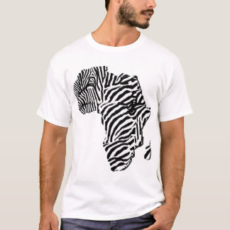 Zebra Print African Safari Africa Map T-Shirt