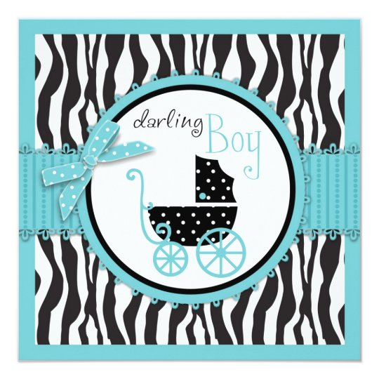 Zebra Print and Baby Carriage Baby Shower Card