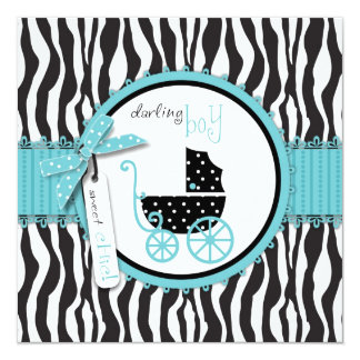Zebra Print and Baby Carriage Baby Shower Announcement