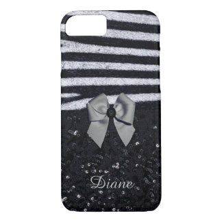 Zebra Print and Glitters iPhone 7 Case