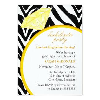 "Zebra Print and Gold Ring Bachelorette Party 5"" X 7"" Invitation Card"