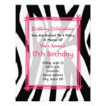 Zebra Print And Hot Pink Fashion Birthday Invite