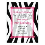 "Zebra Print And Hot Pink Fashion Birthday Invite 4.25"" X 5.5"" Invitation Card"