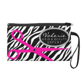 Zebra Print and Hot Pink Hair Shears Custom Wristlet