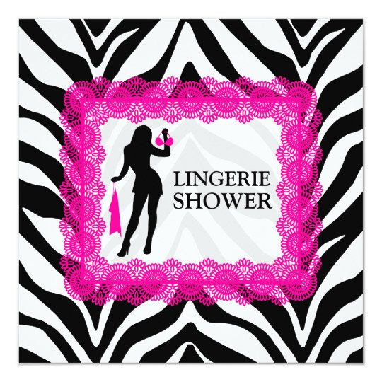 Zebra Print and Hot Pink Lace Bridal Shower Card