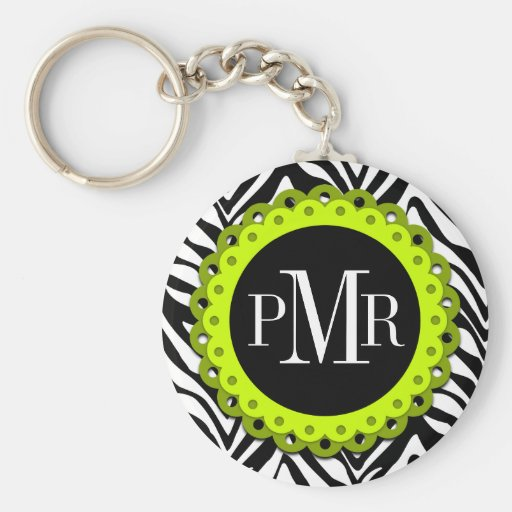 Zebra Print and Lime Lace Monogram Personalized Key Chain