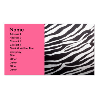 Zebra print and pink business card