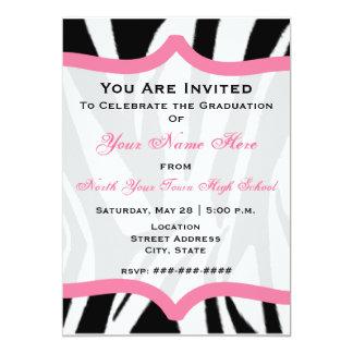 Zebra Print and Pink Class of 2011 Graduation 5x7 Paper Invitation Card