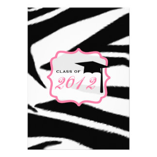 Zebra Print and Pink Class of 2012 Graduation Custom Announcement