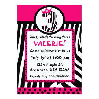 "Zebra print and pink diva 3rd birthday invitation 4.5"" x 6.25"" invitation card"