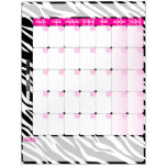Zebra Print and Pink- Dry Erase Calendar Board Dry Erase Board