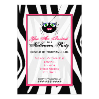Zebra Print and Pink Girl Spider Halloween Party Custom Announcement