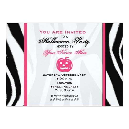 Zebra Print and Pink  Jack O Lantern Halloween Card