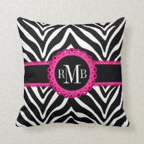 Zebra Print and Pink Lace Monogram Designer Throw Pillow