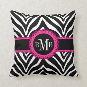 Zebra Print and Pink Lace Monogram Designer Throw Pillow