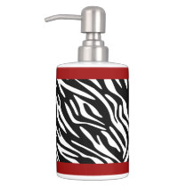Zebra Print and Red Holder Soap Dispenser