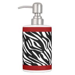 Zebra Print and Red Holder Soap Dispenser