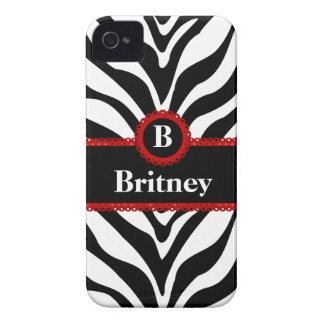 Zebra Print and Red Lace Monogram Name iPhone 4 Case