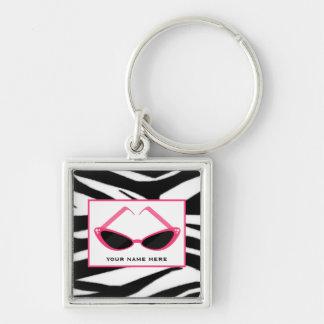 Zebra Print And Retro Pink Sunglasses Key Chain