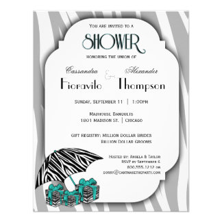 Zebra Print And Teal Accent Shower Invite