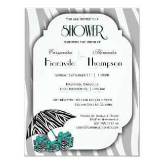 "Zebra Print And Teal Accent Shower Invite 4.25"" X 5.5"" Invitation Card"