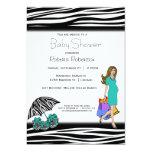 Zebra Print And Teal Shopping Mommy Custom Invitations