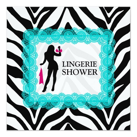 Zebra Print and Turquoise Lace Lingerie Shower Card