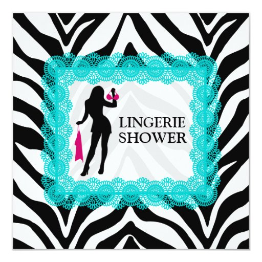 """Zebra Print and Turquoise Lace Lingerie Shower 5.25"""" Square Invitation Card"""