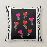 Zebra print andcolorful hearts Pillow