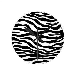 zebra print animal pattern cheetah leopard round clock