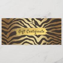 Zebra Print Animal Skin Gold Foil Gift Certificate