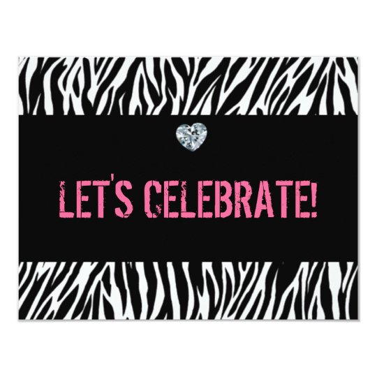 zebra print any age; birthday card