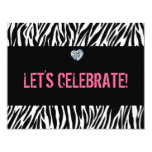 zebra print any age; birthday 4.25x5.5 paper invitation card