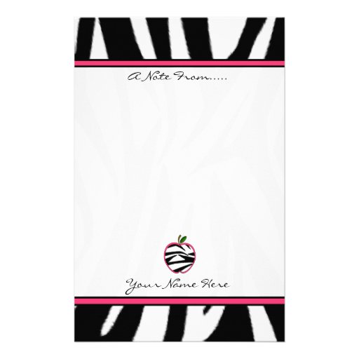 Zebra Print Apple Fashion Teacher Stationery