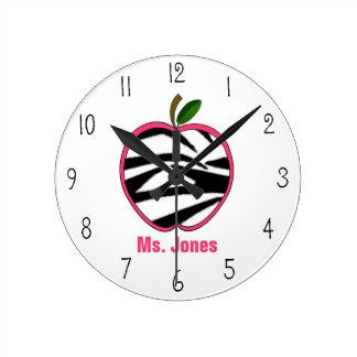 Zebra Print Apple Teacher Clock