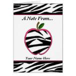 Zebra Print Apple Teacher Notecard Stationery Note Card