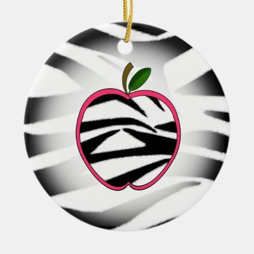 Zebra Print Apple Teacher Ornament