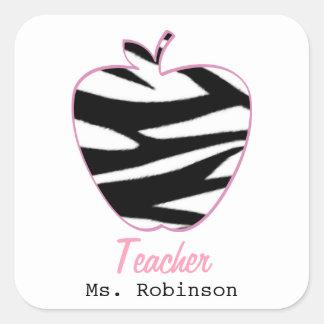 Zebra Print Apple Teacher Square Sticker