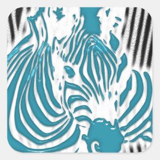 Zebra Print aqua Blue Pattern abstract Camo Square Sticker