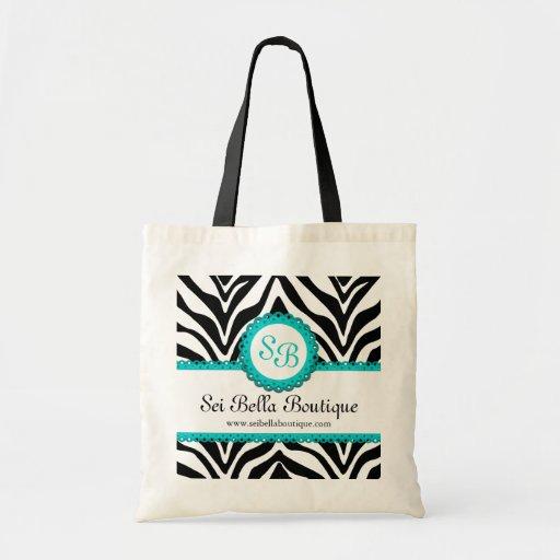 Zebra Print & Aqua Lace Monogram Tote Bags
