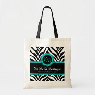 Zebra Print & Aqua Lace Monogram Tote Bag