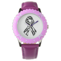 Zebra Print Awareness Ribbon Wrist Watch